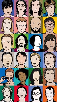Julian Opie- these portraits use vibrant colors and simple lines. The faces are well constructed but don't have shading, making the drawing a flat design Vector Portrait, Portrait Art, Creative Portraits, Life Drawing, Art Plastique, Traditional Art, Graphic Illustration, Light In The Dark, Line Art