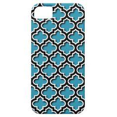 Chic Blue Quatrefoil Moroccan Mosaic Pattern Apple iPhone SE + 5/5S case