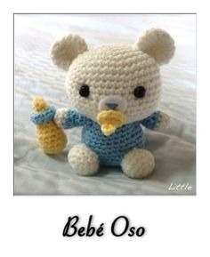 Crochet Pattern: Lil' Baby Bear Look at those adorable eyes staring at you. Don't you want to make this baby bear for yourself too? The size of Lil' Baby Bear is approximately 4 x inches. Crochet Kawaii, Crochet Teddy, Crochet Bear, Love Crochet, Crochet Animals, Crochet Dolls, Crochet Horse, Crochet Patron, Baby Mobile