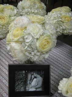 Classic, all-white bouquets with white roses, hydrangea, carnations, and peonies White Bouquets, Town And Country, Carnations, All White, White Roses, Hydrangea, Peonies, Coconut, Classic