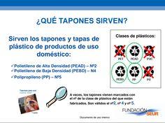 Tapones solidarios: guarda tapones y tapaderas con el sílbolo de reciclaje nº 2, 4 y 5