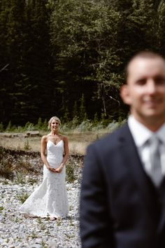 First look before mountain elopement in banff national park Banff National Park, National Parks, Mountain Elopement, Calgary, Weddings, Wedding Dresses, Photography, Fashion, Bride Dresses