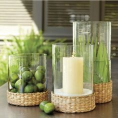 Seagrass Hurricane tropical candles and candle holders