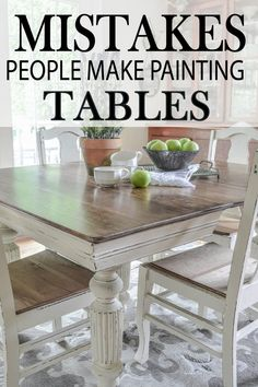 Common Mistakes Made Painting Kitchen Tables Learn how to paint your kitchen table correctly, by learning how to avoid these major mistakes!Learn how to paint your kitchen table correctly, by learning how to avoid these major mistakes! Refinishing Kitchen Tables, Painted Kitchen Tables, Dining Table Makeover, Kitchen Table Makeover, Diy Kitchen Decor, Kitchen Paint, Refurbished Kitchen Tables, Painted Farmhouse Table, Antique Dining Tables