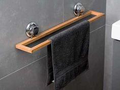 Porte serviette mural en bambou et acier chromé 58.2x9.8x9.5cm Spa