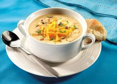 Hands Down the Best Baked Potato Soup Recipe Cream Of Potato Soup, Potato Bacon Soup, Loaded Baked Potato Soup, Sweet Potato Soup, Milk Recipes, Spicy Recipes, Soup Recipes, Recipies, Fast Recipes