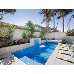 Endless pool design using bluestone with pool fence & fountain - Pool... ❤ liked on Polyvore featuring home