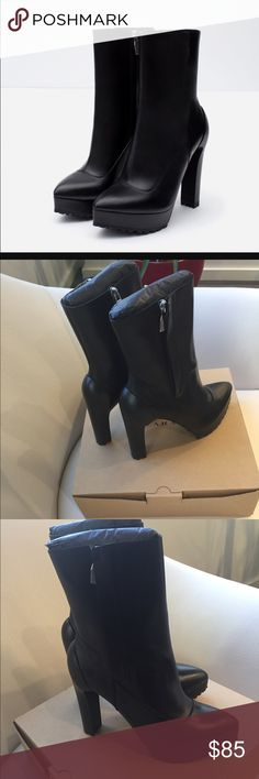 🎉NWT🎉 Zara High Heel Leather Ankle Boots Brand new ankle boots with tags! Never worn (excellent condition)👌🏽. Comes with box! No Trades ❌. Zara Shoes Ankle Boots & Booties