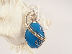 Wire Wrapped Jewelry, Handmade, Turquoise Blue Mountain Jade elainesgems on etsy