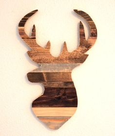 "FOR THE ""GENDER-NEUTRAL CAVE."" Rustic Deer Wall Silhouette, Rustic Home Decor, Deer Silhouette, Wood Slats, Elk Silhouette"