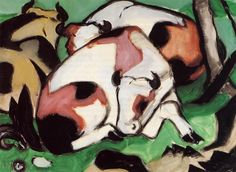 Resting Cows Artist: Franz Marc Completion Date: 1911 Style: Expressionism Genre: animal painting Gallery: Private Collection Tags: animals,. Franz Marc, Paul Klee, August Macke, Wassily Kandinsky, Cavalier Bleu, Expressionist Artists, Animal Paintings, Oil Paintings, Art Paintings