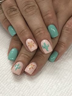Cactus mint and peach nails
