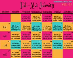 Fab-Abs January! {Monthly Workout Calendar} - Fitness is life, fitness is BAE! <3 Tap the pin now to discover 3D Print Fitness Leggings from super hero leggings, gym leggings, fitness, leggings, and more that will make you scream YASS!!!