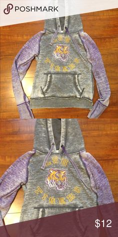 Vintage LSU Sweatshirt So cute and has hood as well as pouch pocket. Light pilling throughly from washing. Jackets & Coats