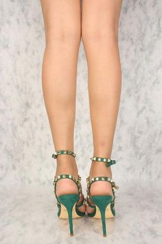 0ca89b2266f7 Sexy Emerald Studded Open Toe Strappy High Heels Faux Suede  Stilettoheels
