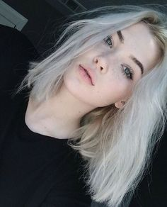alternative, beautifuk, beautiful, beauty, blonde, blue eyes, cool, dark, face, girl, grunge, hair, hairstyle, hipster, makeup, model, pale, pretty, sad, silver hair, soft grunge, straight hair, syle, tumblr, white hair, youtuber, okaysage