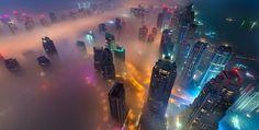Colourful fog in Dubai