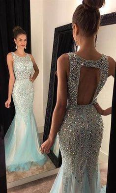 2017 Elegant Mermaid Prom Dresses,Backless Beading Evening Dresses,Tulle Formal Dresses,257