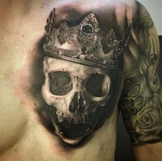 Skull+and+crown+tattoo+by+David+Rinklin