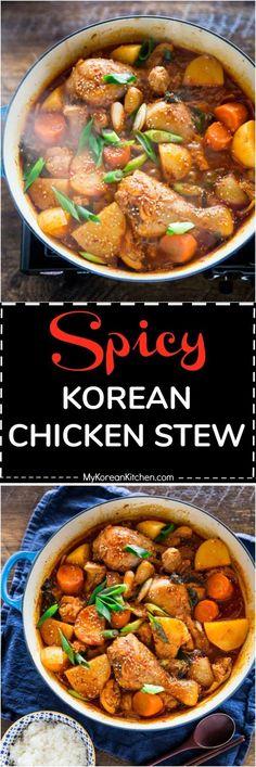 How to Make Spicy Korean Chicken Stew (Dakdoritang) | MyKoreanKitchen.com #koreanfood #chicken #stew via @mykoreankitchen