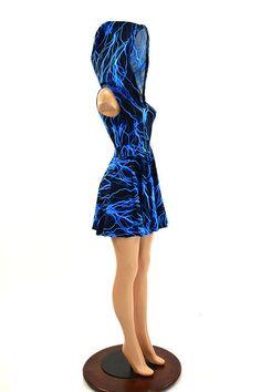 Pocket Hoodie Skater Dress in UV Glow Blue Lightning Print Lycra Spandex Clubwear Festival Rave 150577