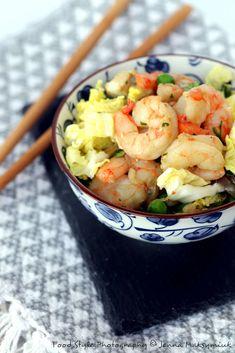 Wok de chou chinois et crevettes Bon Appetit, Potato Salad, Noodles, Shrimp, Potatoes, Fish, Meat, Bistro, Healthy