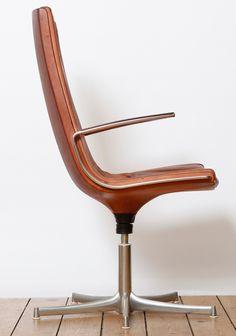 Preben Fabricius and Jørgen Kastholm; Leather and Chrome-Plated Steel Deskchair, 1960s.