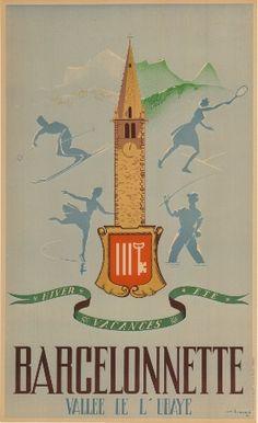 Barcelonnette Vallée de l'Ubaye - Vacances hiver-été - Affiche originale de JM Bompard (1946)