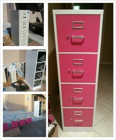 Operation file cabinet refinish complete!! I took this cabinet from boring to awesome with just a few cans of spray paint! :)