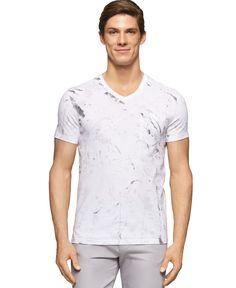 Calvin Klein Ck One Marble-Print V-Neck T-Shirt