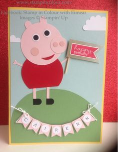 Stampin' Up Peppa Pig Punch Art Children's Birthday Card-001