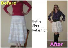 Off-white Ruffle Skirt, Refashion