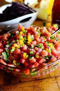 Watermelon Pico de Gallo  recipe Here : http://tastydishesandhealthy.com/watermelon-pico-de-gallo