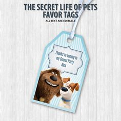 The Secret Life of Pets Favor Tags by DigitalDesignChile on Etsy