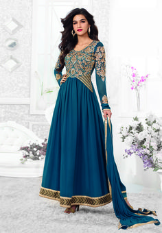 Sea Blue with Golden neck embroidered work Bollywood #longanarkalisuit