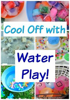 Super easy, but very creative, water play activities for kids! These summer fun activitiesare great for cooling off in the sprinkler, water table, little kiddie pools - whatever you have on hand. Summer Activities for Kids Water Play Activities, Outside Activities For Kids, Kids Learning Activities, Summer Activities For Kids, Infant Activities, Summer Kids, Games For Kids, Water Games, Outdoor Activities