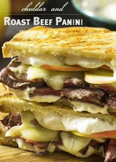 Cheddar, Apple, and Roast Beef Panini – Just a Little Bit of Bacon What to do with leftover roast beef? Layer it up on sourdough bread with apples, cheddar, and horseradish sauce for a roast beef panini! Great for lunch or dinner. Grill Sandwich, Panini Sandwiches, Best Sandwich, Soup And Sandwich, Wrap Sandwiches, Vegan Sandwiches, Chicken Sandwich, Panini Bread, Roast Beef Panini