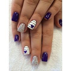 Purple compassionate love for valentine's day 💜💜💜 Nail Polish Designs, Nail Art Designs, Nails For Kids, Pretty Nail Art, Cute Acrylic Nails, Professional Nails, Square Nails, Purple Nails, Holiday Nails