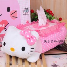 >> Click to Buy << Kawaii Lace Plush Hello Kitty Tissue Cover Case Seating Cartoon Pink Tissue Box Holder Tissue Paper Pumping Napkin Storage Box #Affiliate