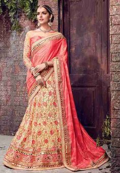 """""""Insanity is doing the same thing, over and over again, but expecting different results."""" Pink & Beige #Color Chiffon & Net Designer #Saree"""