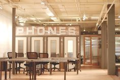 This is exactly what I was thinking about - phone booths to take phone calls. 'phones'  cool co-working space in Seattle