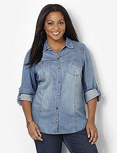 Plus Size Button Front Empire Knit Dress - Walnut | Plus-Size ...