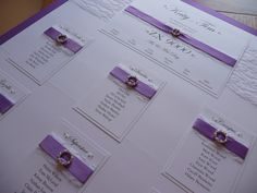 Grape / Purple white and vintage lace themed Wedding Table Plan / Seating Plan
