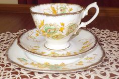 Lovely,Rare,Vintage, Royal Albert@  1212   Pattern Crown China Tea Trio Set