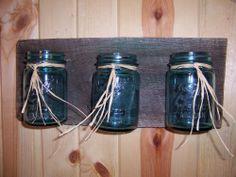 Vintage Blue Canning jar Hanging Planter Antique Barn Wood Kitchen/Garden/BR