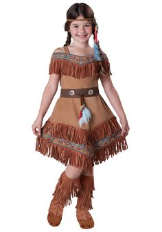 Halloween Child Indian Maiden Costume, Native American Costume.