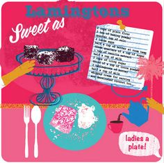 Lamingtons - maybe the Aussies invented them...but WE made 'em pink!  by Lorna Sivitar