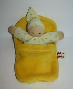 "Nanchen Waldorf BABY DOLL 5"" Yellow Sleeping Blanket Bag Rattle Germany Soft Toy Sleeping Bag, Plush Dolls, Fisher Price, Small Bags, Beautiful Dolls, Baby Dolls, Germany, Blanket, Yellow"