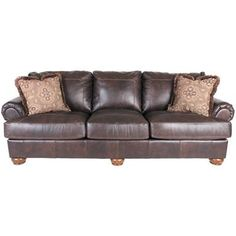 Show details for Axiom Walnut All-Leather Sofa