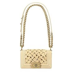 Chanel Chanel 2013 early spring vacation series beige leather cross weave Boy Chanel chain shoulder bag